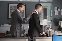 """SUITS -- """"Stay"""" Episode 310 -- Pictured: (l-r) Gabriel Macht as Harvey Specter, Patrick J. Adams as Michael Ross -- (Photo by: Shane Mahood/USA Network)"""