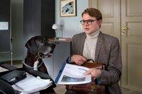 """ARD/HEITER BIS TÖDLICH - AKTE EX II. Staffel (8 neue Folgen), Folge 12 """"Auf Entzug"""" am Dienstag (26.11.13) um 18.50 Uhr im Ersten. Dr.Leo Sturm (Tobias Schenke) ist sichtlich eingeschüchtert von dem Hund."""