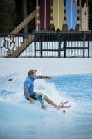 Robby Naish surfing in Alaïa Bay, the first Wavegarden in Switzerland, on june 30 2021.