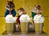 Die Streifenhörnchen (v.li.) Simon, Alvin und Theodore geniessen den neuesten koffeinhaltigen Drink.