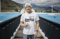 Robby Naish posing in Alaïa Bay, the first Wavegarden in Switzerland, on june 30 2021.
