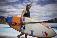 Robby Naish getting ready to surf in Alaïa Bay Bay, the first Wavegarden in Switzerland, on june 30 2021.