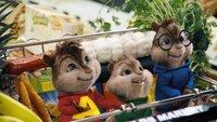 (v.li.) Alvin, Theodore und Simon machen einen Ausflug in den Supermarkt.
