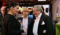 Tauschmutter Katy (li.) mit Mausis Manager Helmut Werner (Mitte) und Mausis Ex-Mann, der Bauunternehmer Richard Lugner
