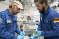 Im Rahmen des Projekts EDEN ISS wollen DLR-Projektleiter Daniel Schubert (li.) und Mitarbeiter Conrad Zeidler (re.) unter anderem herausfinden, ob Erdbeeren eines Tages auch auf dem Mond gedeihen können.