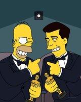 """Homer und Mel Gibson besuchen gemeinsam """"ihre"""" Filmpremiere."""