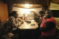 Pictured: (l-r) Takeoff as himself, Keith Stanfield as Darius, Brian Tyree Henry as Alfred Miles. CR: Guy D'Alema/FX