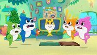 l-r: Grandpa Shark, Dady Shark, Baby Shark, Grandma Shark, Mommy Shark