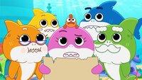l-r: Grandma Shark, Baby Shark, William, Mommy Shark, Daddy Shark, Grandpa Shark