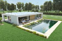 house with an environmental pond pool.