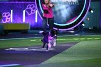 """Melanie  mit ihrem Border Collie """"Trouble"""" in Runde 2 des Finales, dem _Doghouse_."""