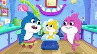 l-r: Daddy Shark, Baby Shark, Mommy Shark