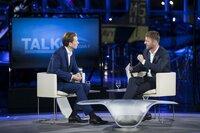 Sebastian Kurz and Michael Fleischhacker talking during Servus TV's Talk at the Hangar-7 in Salzburg, Austria on 26th of July 2019