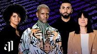 Moderation: Journalistin Aminata Belli (l.), Rapper MoTrip (2.v.r.), Moderator Tarik Tesfu (2.v.l.) und ? neu im Team ?  Podcasterin und Unternehmerin Louisa Dellert (r.).