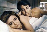 L-R: Anne Bancroft (Mrs. Robinson), Dustin Hoffman (Benjamin Braddock).