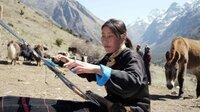 Die Yakhirten in Bhutan weben ihre Stoffe aus Yakwolle selbst.