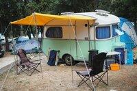 vintage caravan parked in a croatian camping