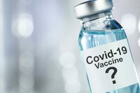 Possible cure concept with vaccine vial for Coronavirus, Covid 19 virus