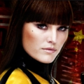 "Carla Gugino als Silk Spectre in ""Watchmen"""