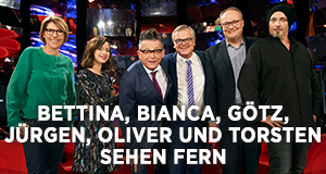 Bettina, Bianca, Götz, Jürgen, Oliver und Torsten sehen fern